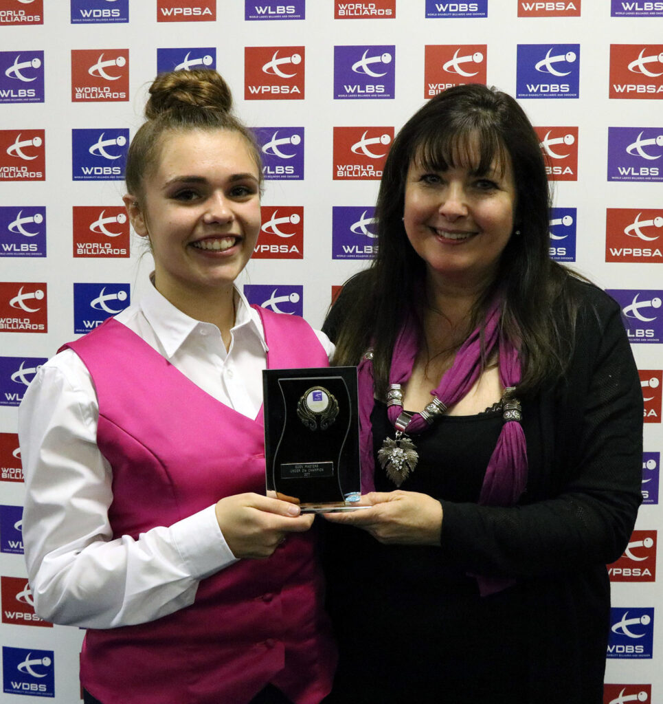 Chloe White presented with trophy by Mandy Fisher