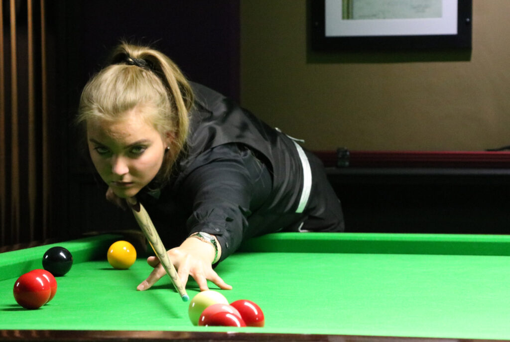 Emma Parker playing snooker